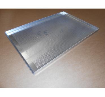 Pečný plech 750 x 500 mm, síla 2,0 mm, AlMn, děrovaný, okraj 3x90/45, bez pertlu
